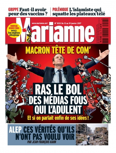 Emmanuel Macron, Jean-Luc Mélenchon, François Fillon, Marine Le Pen, En Marche, Les Républicains, LR, FN, Front national, PS, parti socialiste, élections présidentielles 2017, Marianne, magazine, hebdomadaire