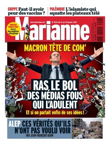 Emmanuel Macron, Jean-Luc Mélenchon, François Fillon, Marine Le Pen, En Marche, Les Républicains, LR, FN, Front national, PS, parti socialiste, élections présidentielles 2017, Marianne, magazine, hebdomadaire