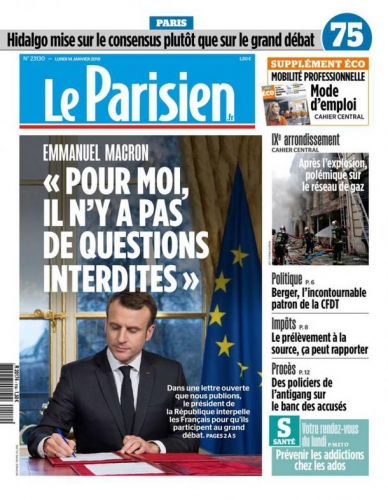 gilets jaunes Macron grand débat national leparisien-cover-14-01-19.jpg