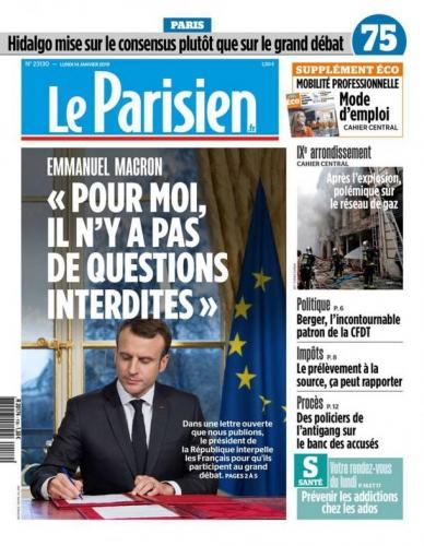gilets jaunes Macron grand débat national leparisien-cover-14-01-19.jpg