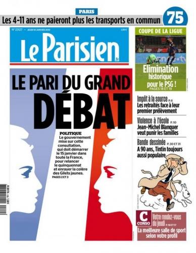 gilets jaunes Macron grand débat national leparisien-cover-10-01-19.jpg